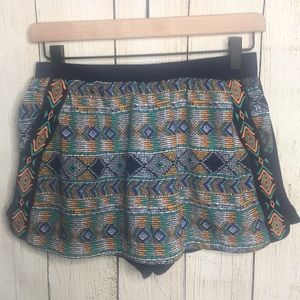 Miss Me Tribal Embroidered Knit Shorts